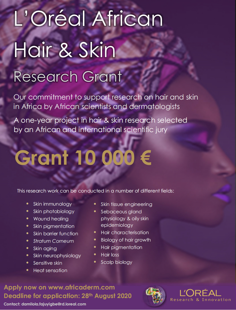 Loreal grant 2020, loreal resident dermatologists, loreal africa